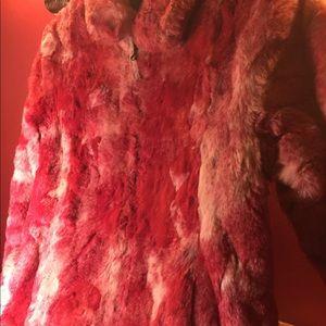 Jackets & Blazers - Hot pink & white faux fur jacket